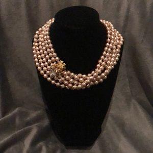 GORGEOUS Faux Pearl Necklace w/ Flower Clasp